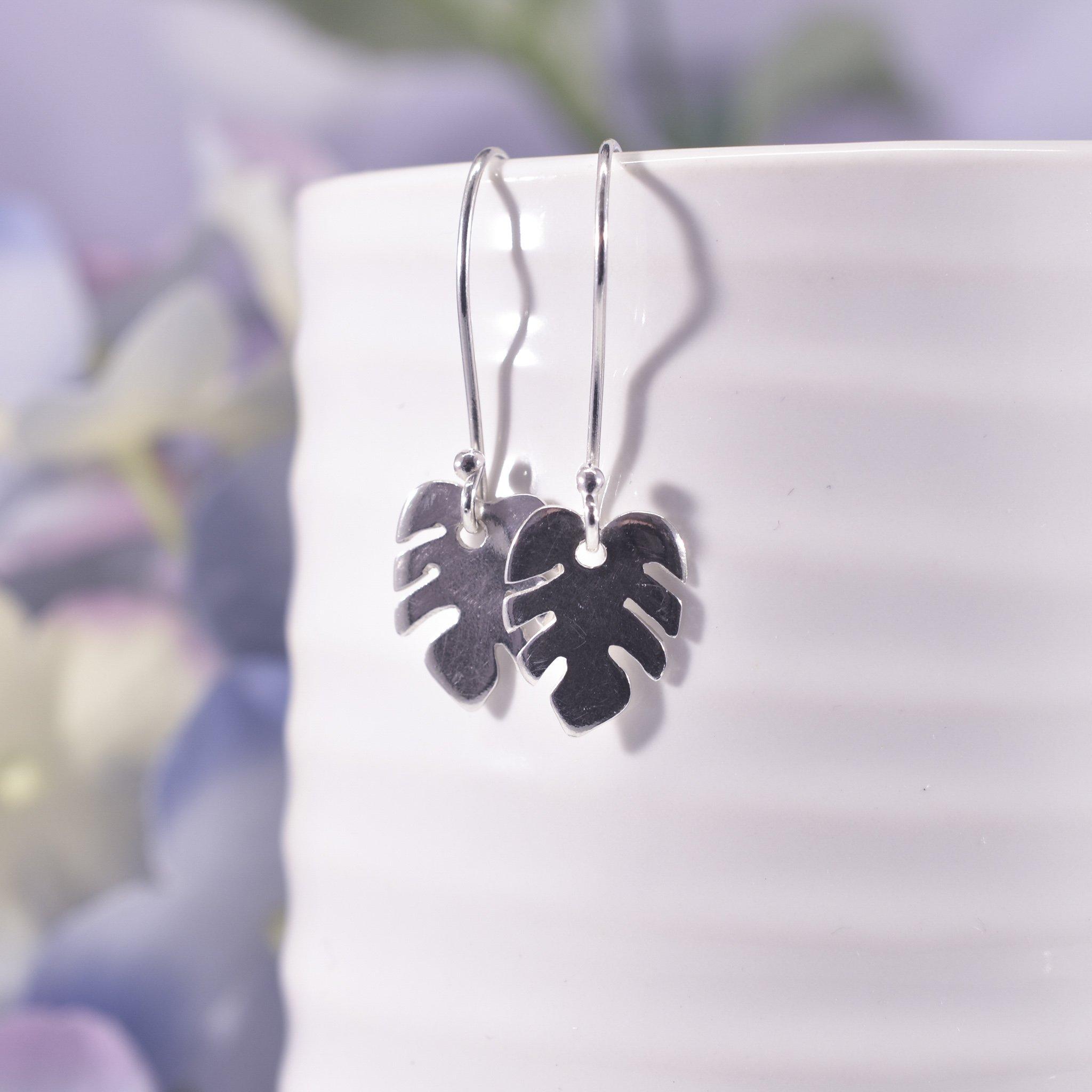 Handmade Sterling Silver Monstera Leaf Drop Earrings