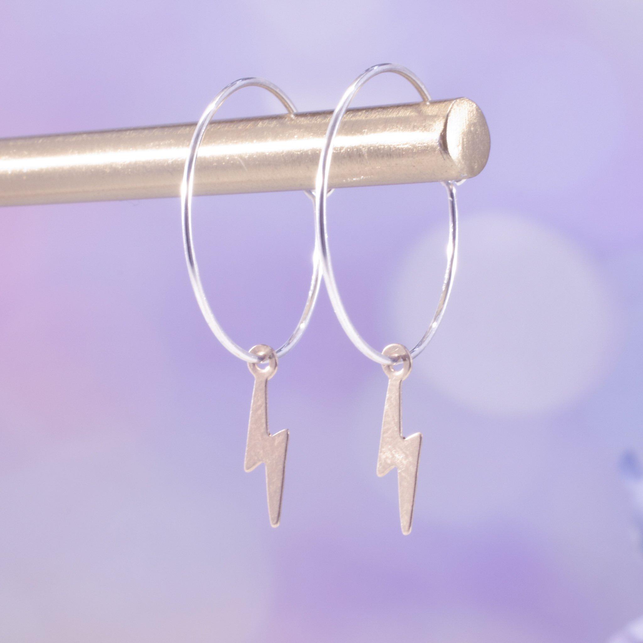 Handmade Gold Filled Lightning Bolt Hoop Earrings