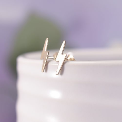 Gold Filled Lightning Bolt Stud Earrings