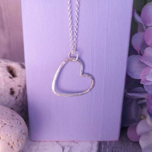 Handmade Sterling Silver Hammered Heart Necklace