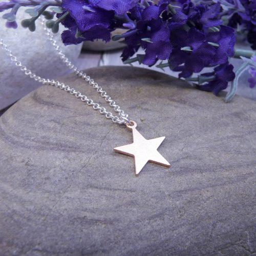 Handmade Rose Gold Vermeil Satin Star Necklace