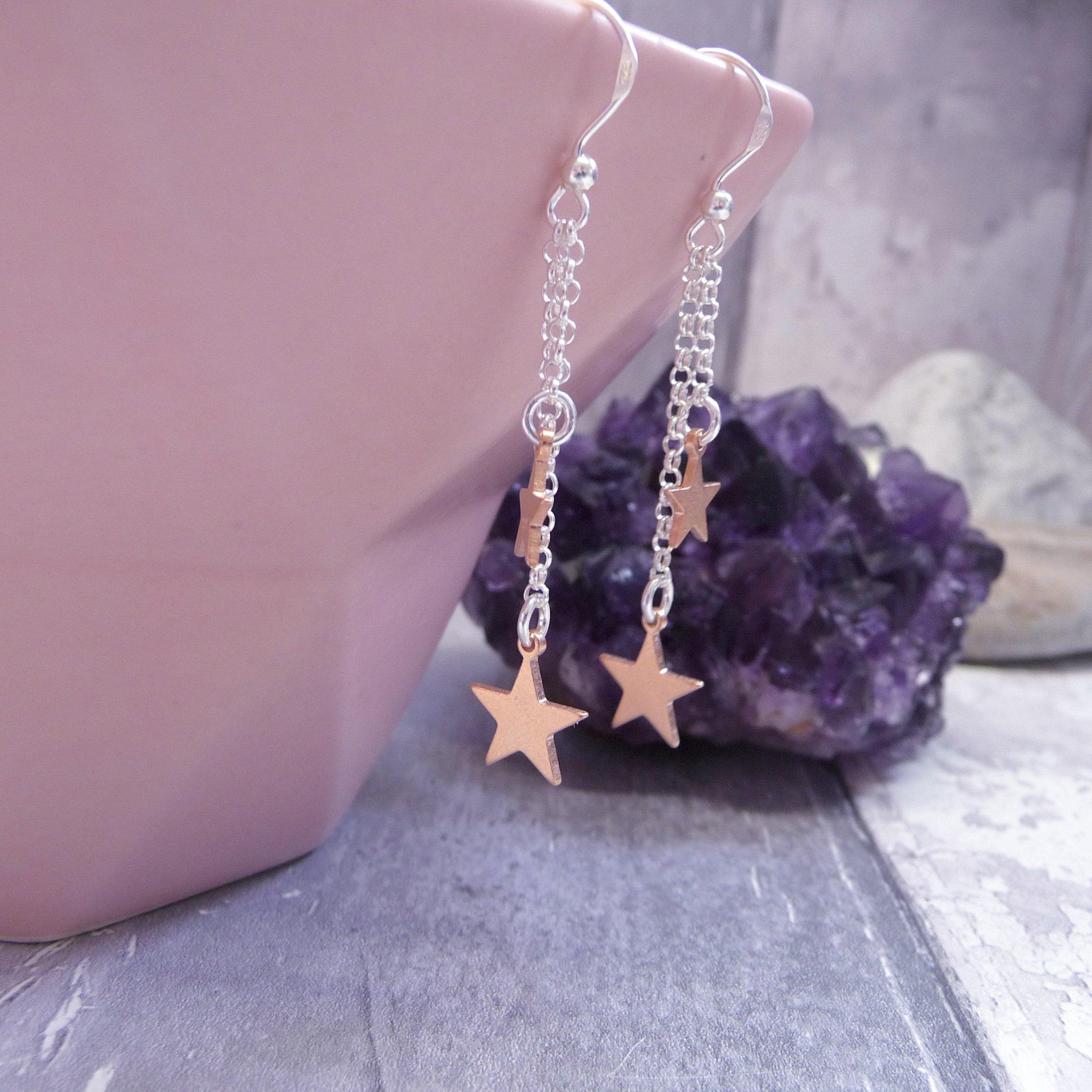 Handmade Rose Gold Filled Star Drop Earrings