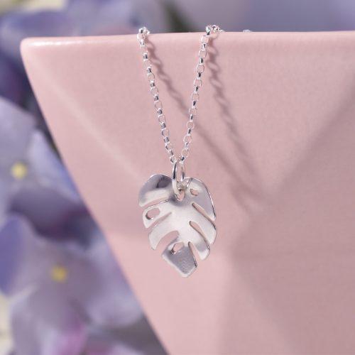 Handmade Sterling Silver Monstera Leaf Necklace