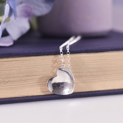Handmade Sterling Silver Concave Heart Necklace