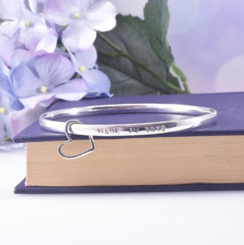 Handmade Sterling Silver Personalised Story Bangle