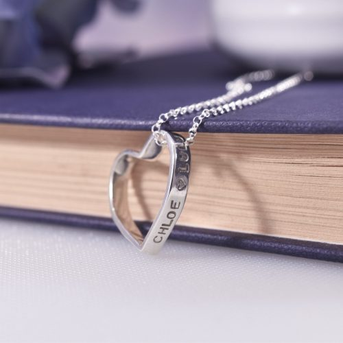 Handmade Sterling Silver Personalised Adored Heart Necklace