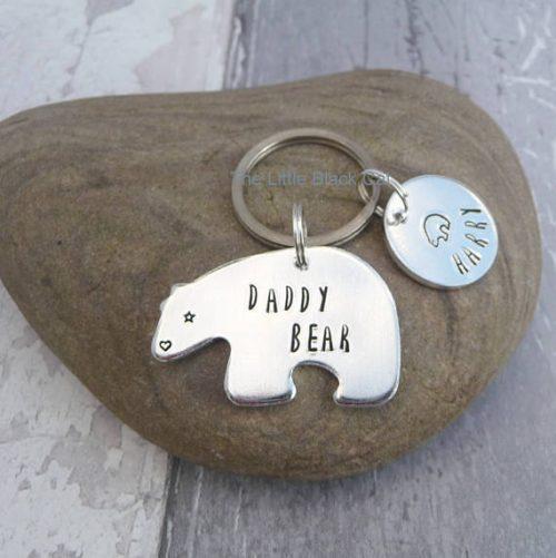 Handmade Aluminium Daddy Bear Keyring