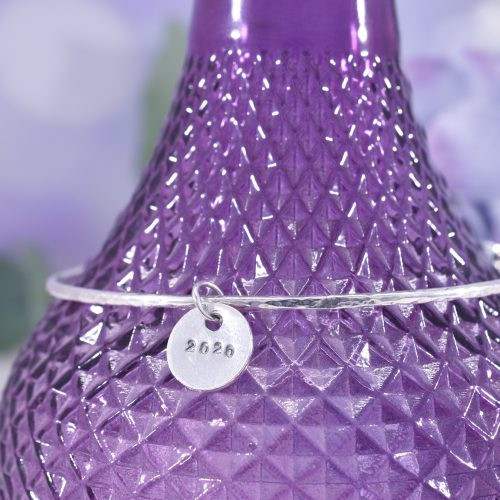 Handmade Sterling Silver Personalised Disc Bangle