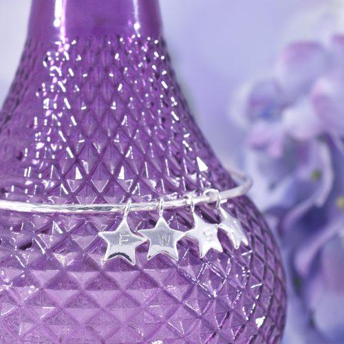 Handmade Sterling Silver Personalised Star Bangle