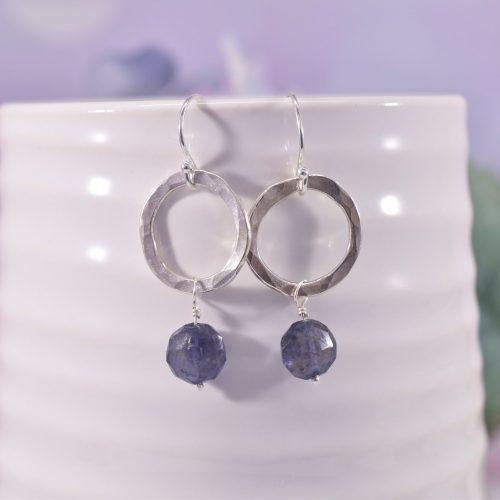 Handmade Sterling Silver Iolite Circle Earrings
