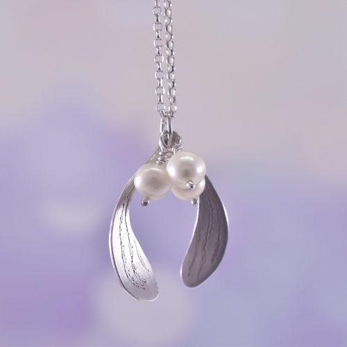 Handmade Sterling Silver Mistletoe Kisses Necklace