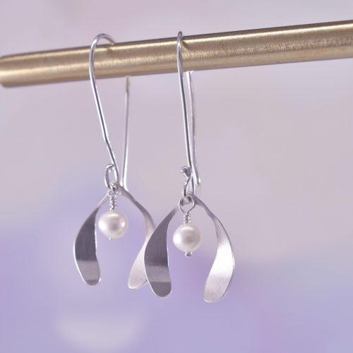 Handmade Sterling Silver Mistletoe Kisses Earrings