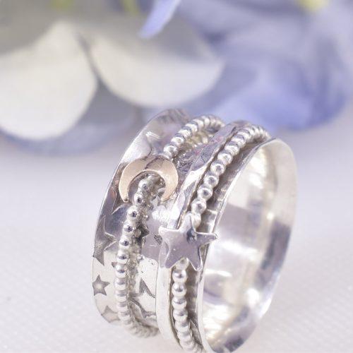 Handmade Sterling Silver Galaxy Spinner Ring