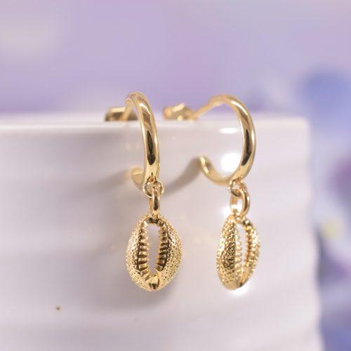 Gold Cowrie Shell Huggie Hoop Earrings