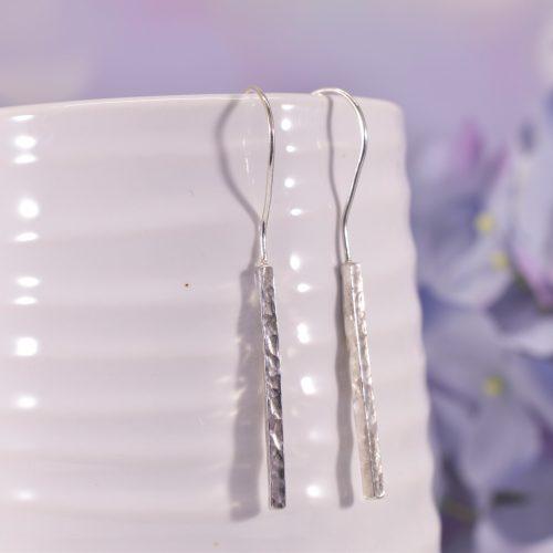Handmade Sterling Silver Hammered Bar Earrings