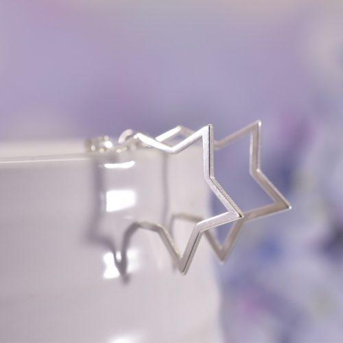 Sterling Silver Starburst Huggie Hoop Earrings
