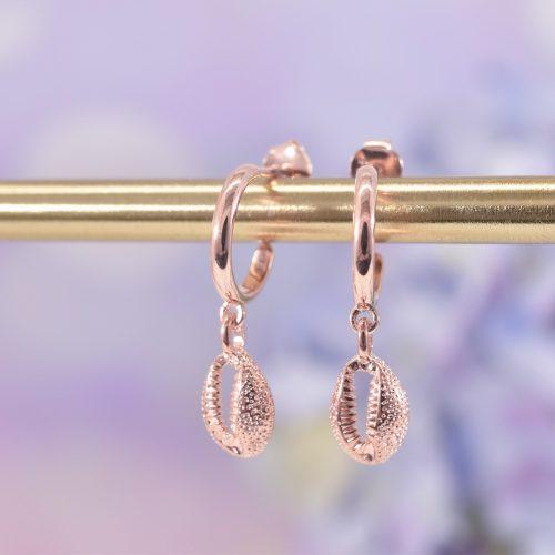 Rose Gold Cowrie Shell Huggie Hoop Earrings