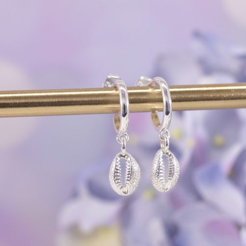 Sterling Silver Cowrie Shell Huggie Hoop Earrings