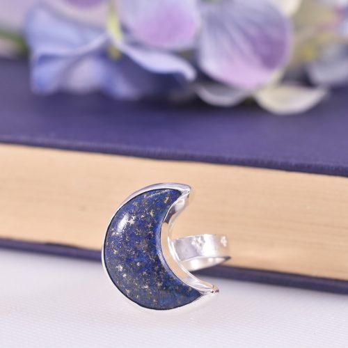 Handmade Sterling Silver Luna Lapis Moon Ring