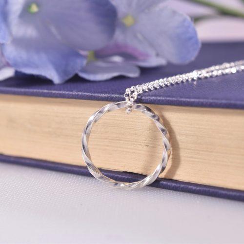 Handmade Sterling Silver Ribbon Twist Pendant