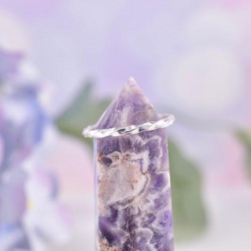 Handmade Sterling Silver Skinny Ribbon Twist Ring